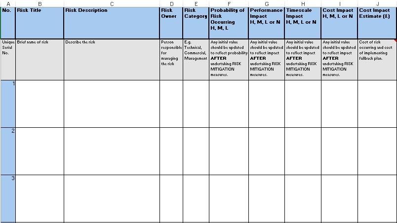 free risk register template 7