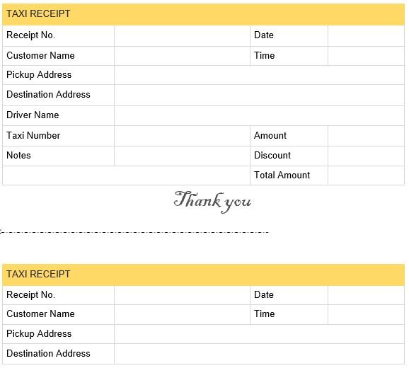 Printable Taxi Receipt Templates (Excel, Word, PDF)