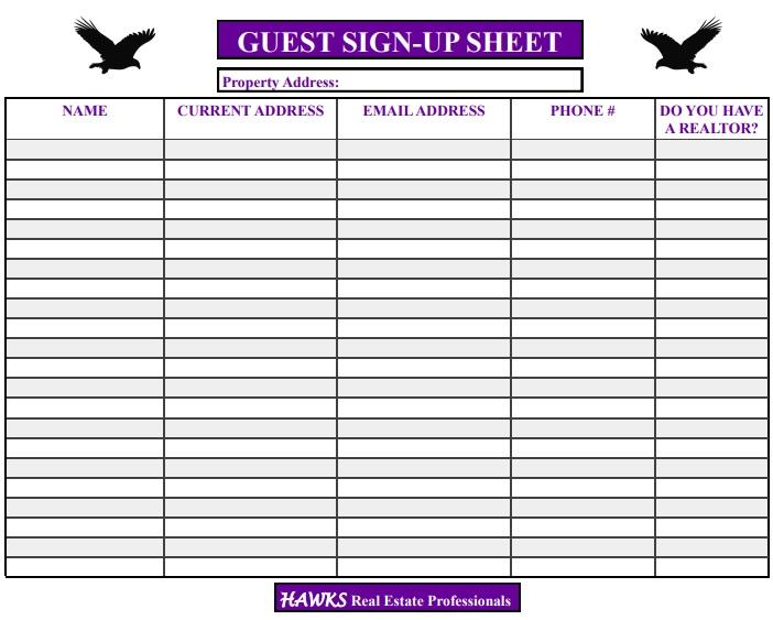 guest sign up sheet