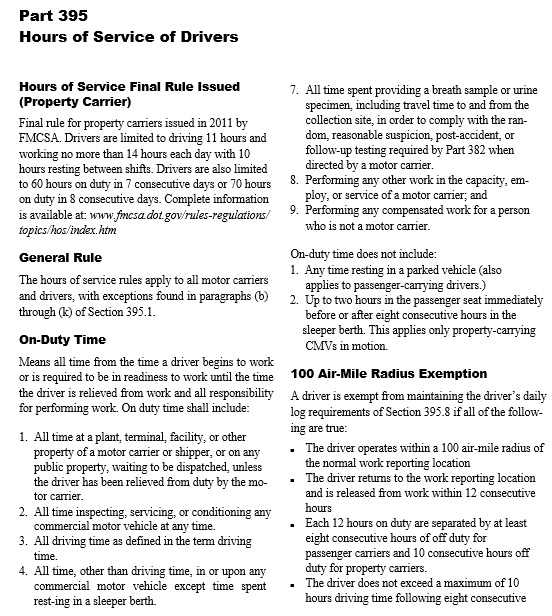 hours of service of drivers template