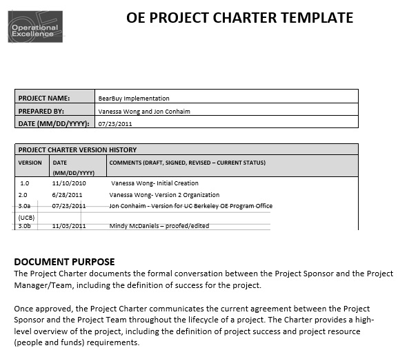 oe project charter template