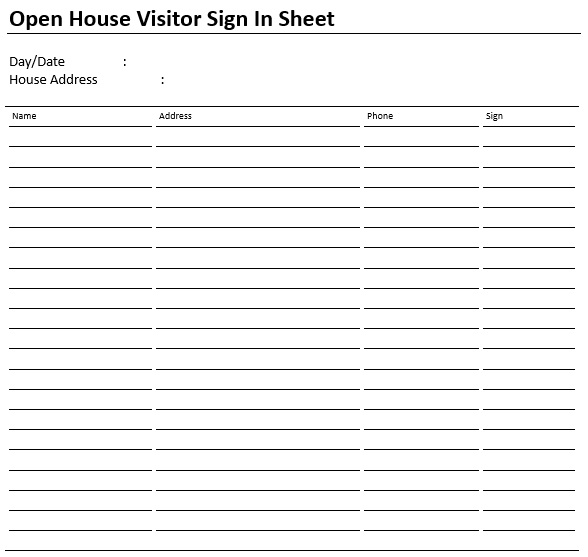 open house visitor sign in sheet