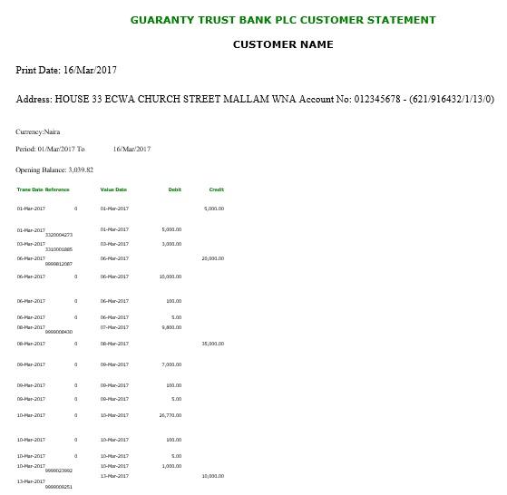 printable bank statement template 6