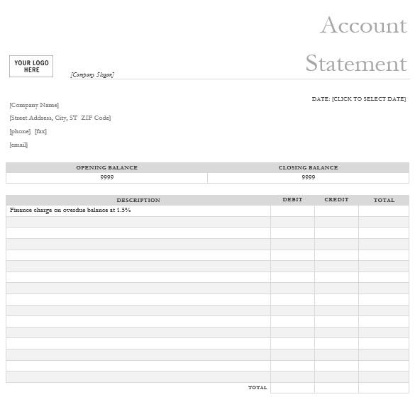 printable bank statement template 8