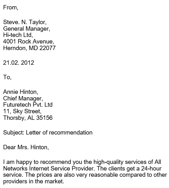 printable business reference letter