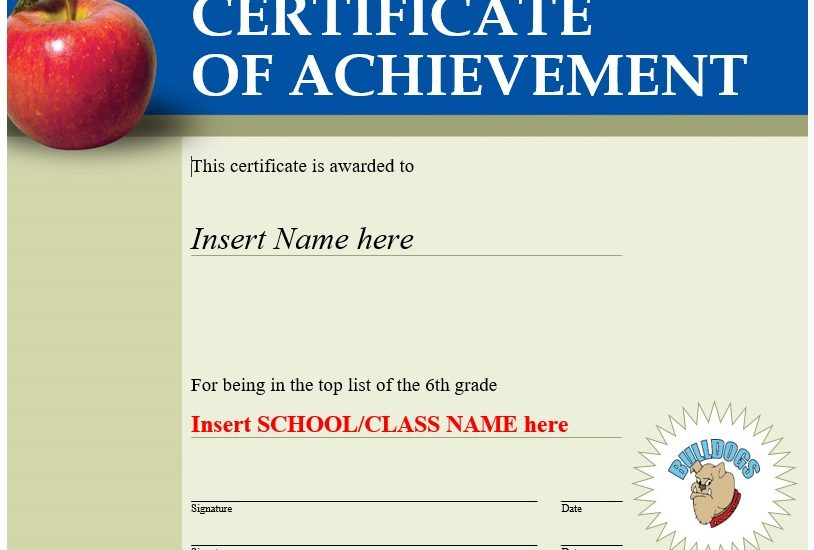 printable certificate of achievement template 19