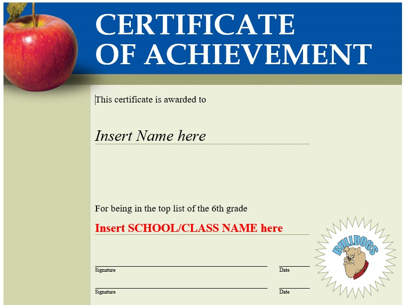 Printable Certificate of Achievement Templates (MS Word)