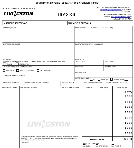 printable commercial invoice template 16