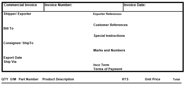 printable commercial invoice template 17