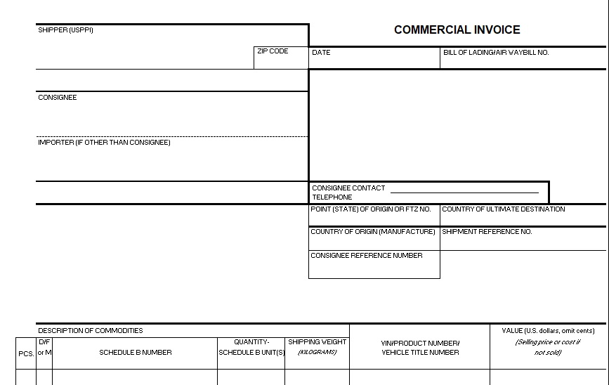 printable commercial invoice template 3