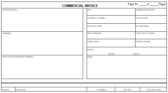 printable commercial invoice template 5