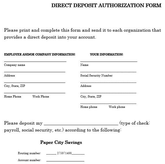 printable direct deposit authorization form 10