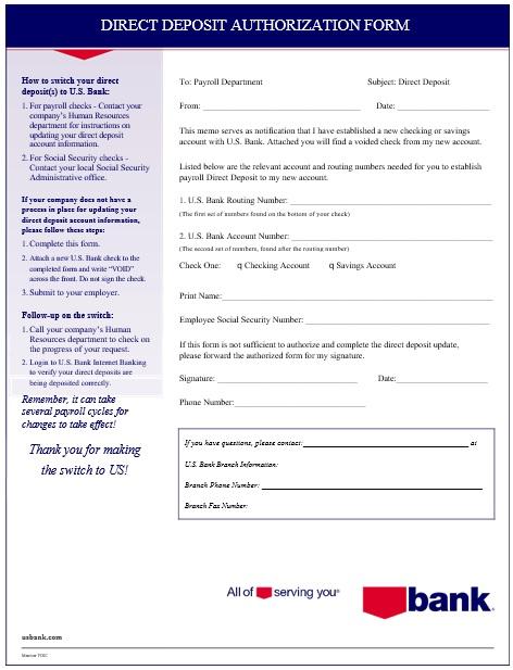 printable direct deposit authorization form 12