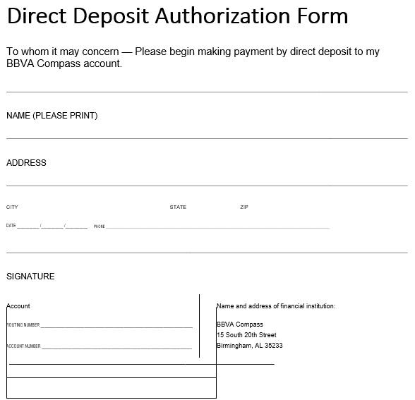 printable direct deposit authorization form 13