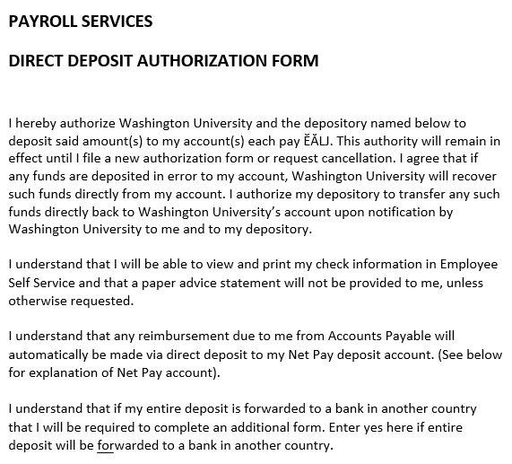 printable direct deposit authorization form 14