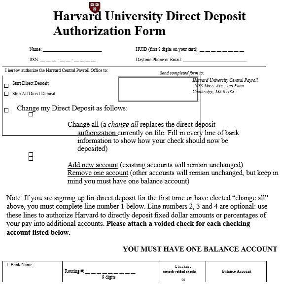 Printable Direct Deposit Authorization Form (MS Word)