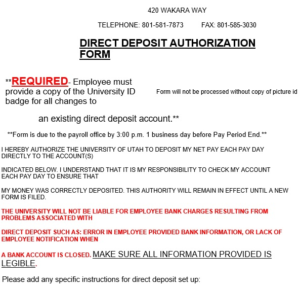 printable direct deposit authorization form 19