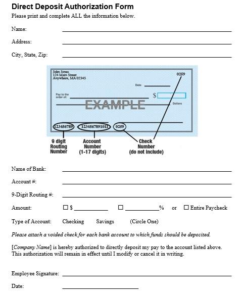 printable direct deposit authorization form 20