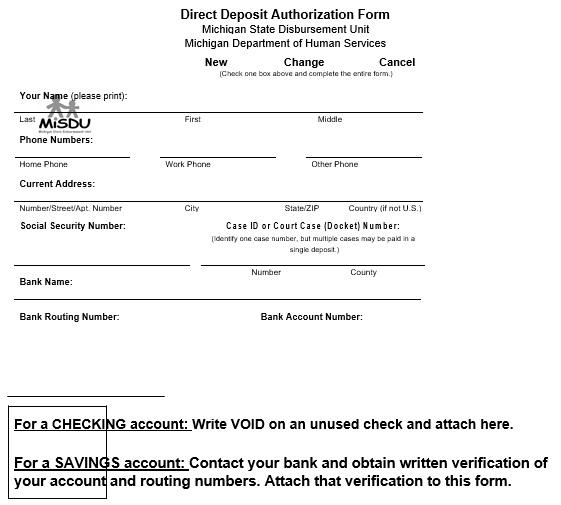 printable direct deposit authorization form 4