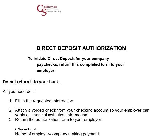 printable direct deposit authorization form 5