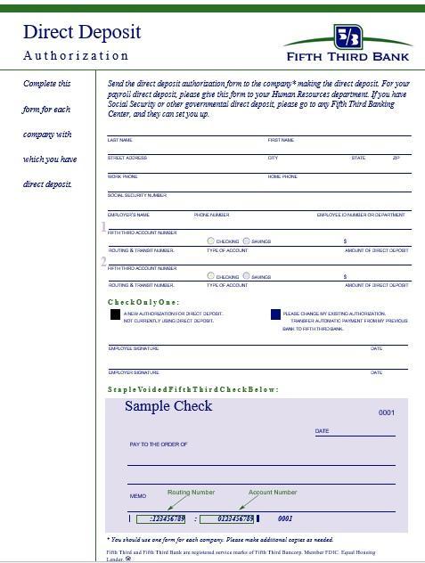 printable direct deposit authorization form 6