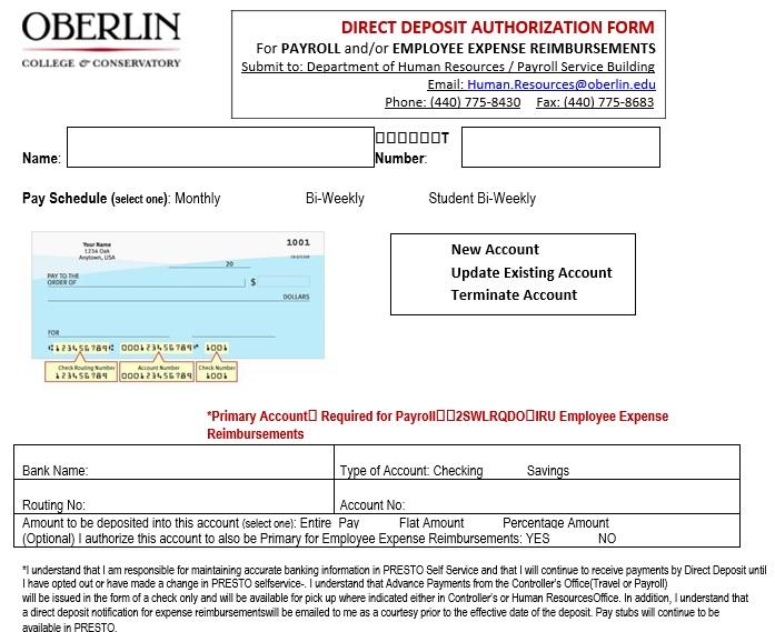 printable direct deposit authorization form 7