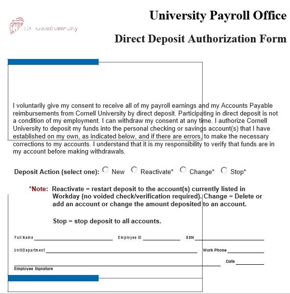 printable direct deposit authorization form 9