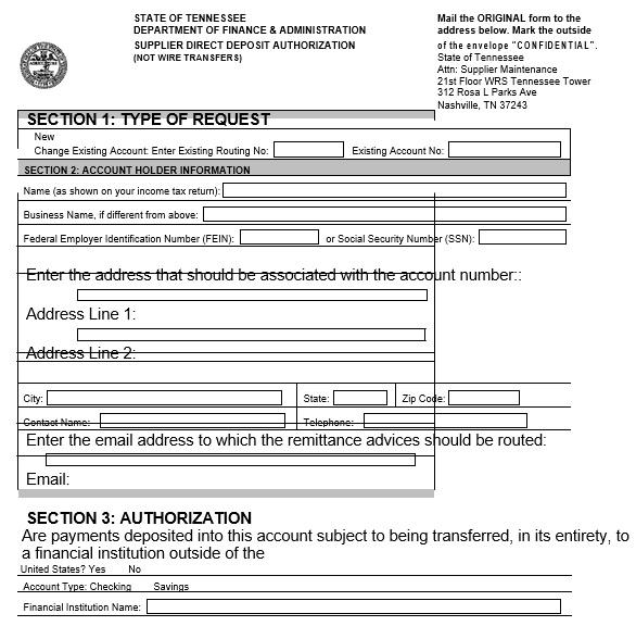 printable direct deposit authorization form