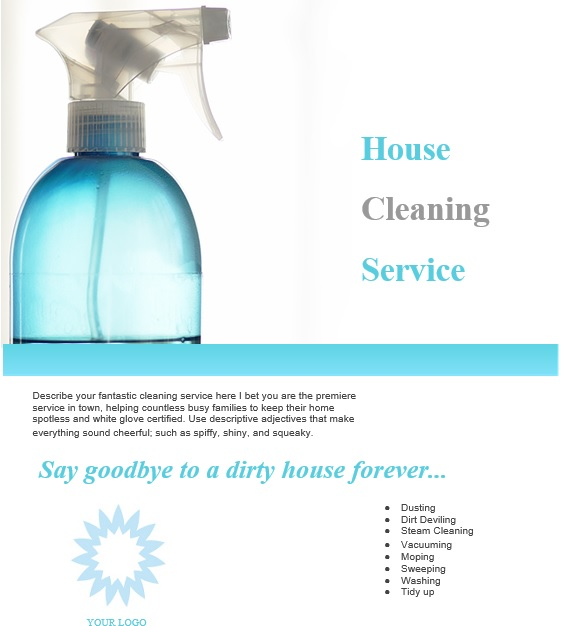 printable house cleaning flyers