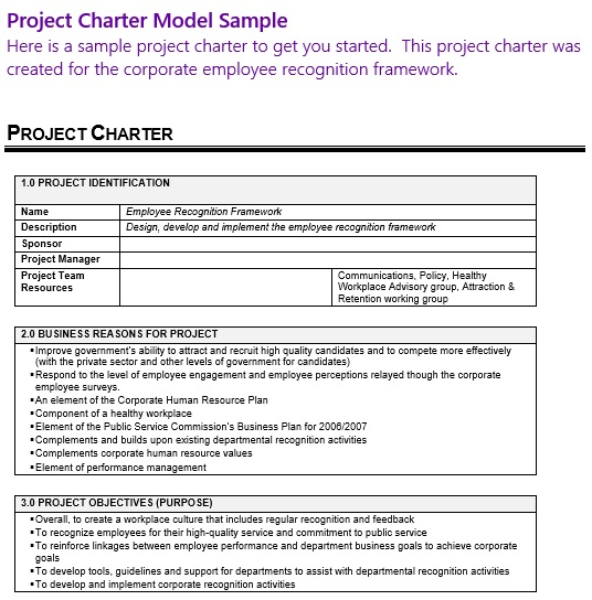 project charter model sample