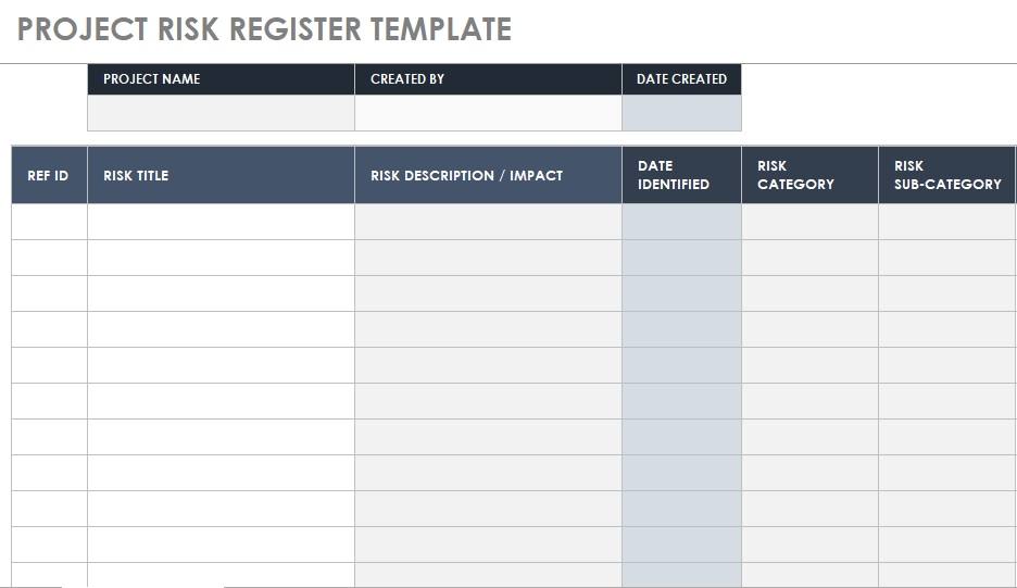 project risk register template