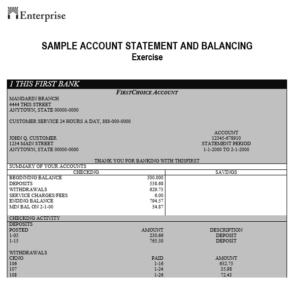 sample account statement and balance exercises