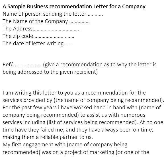 sample business recommendation letter for a company