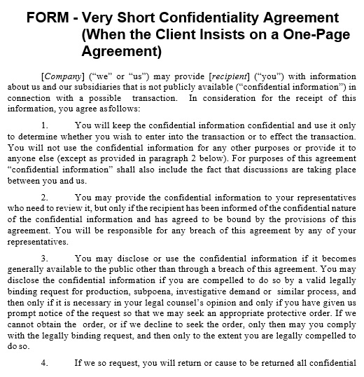 Free Confidentiality Agreement Templates MS Word (NDA)