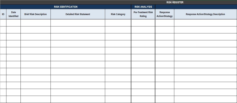 simple risk register template