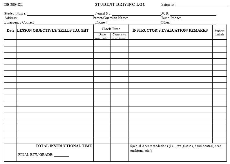 student driving log sheet