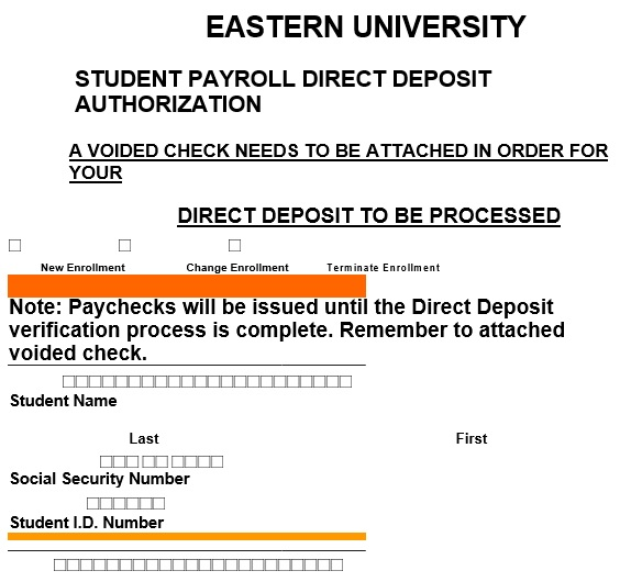 student payroll direct deposit authorization form