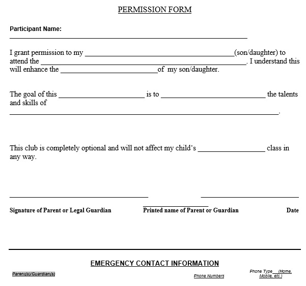 blank permission slip form