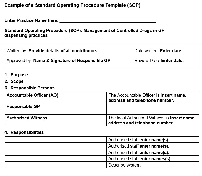example of a standard operating procedure template