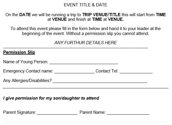 free permission slip template 5