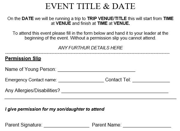 free permission slip template 8