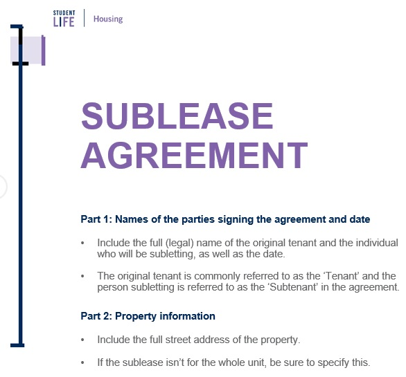 free sublease agreement template 1