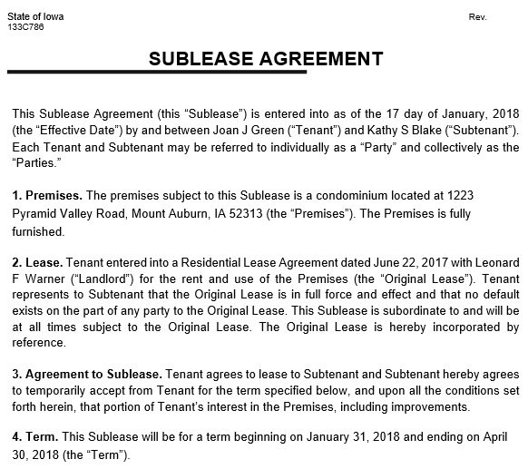 free sublease agreement template 2