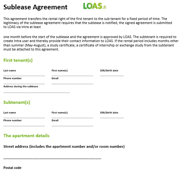 free sublease agreement template 3