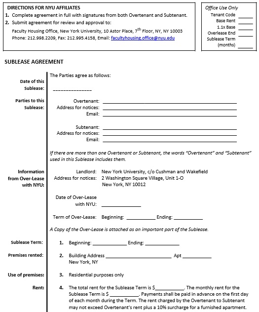 free sublease agreement template 5