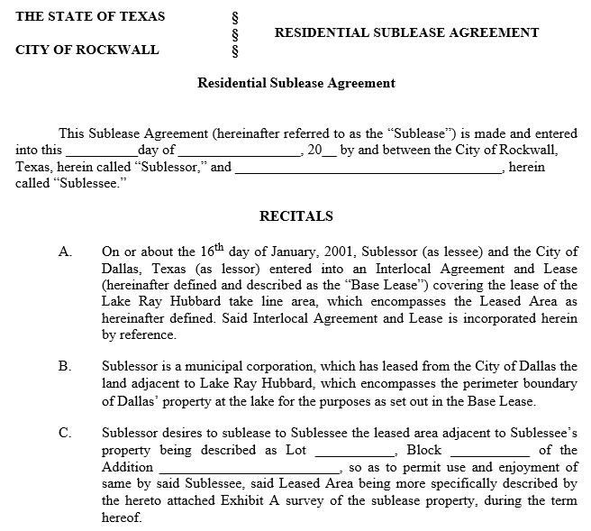 free sublease agreement template 6