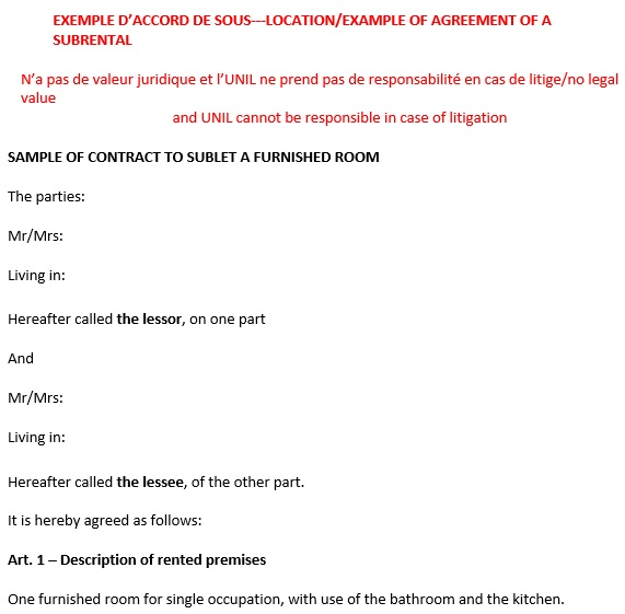 free sublease agreement template 8