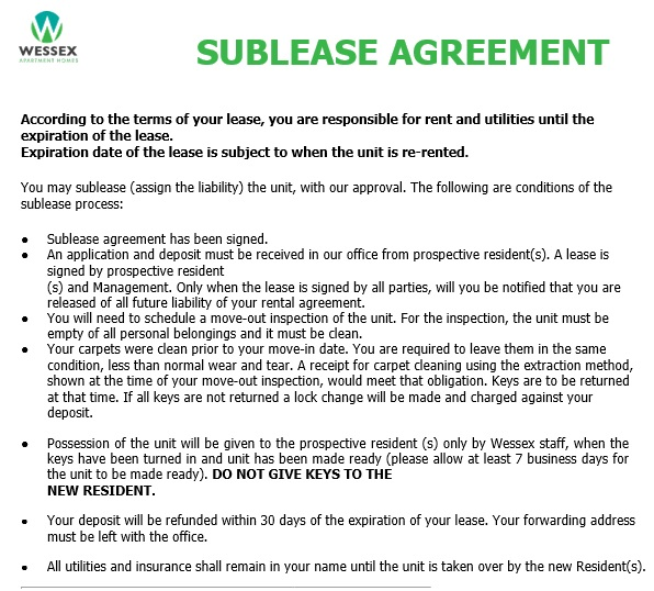 free sublease agreement template 9