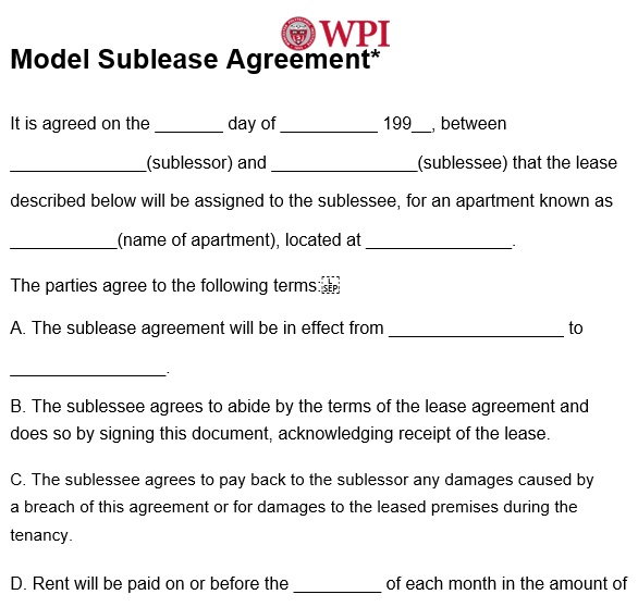 model sublease agreement template