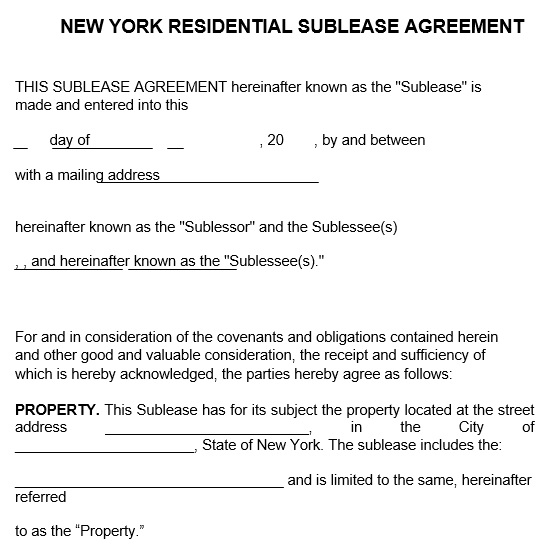 new york residential sublease agreement template